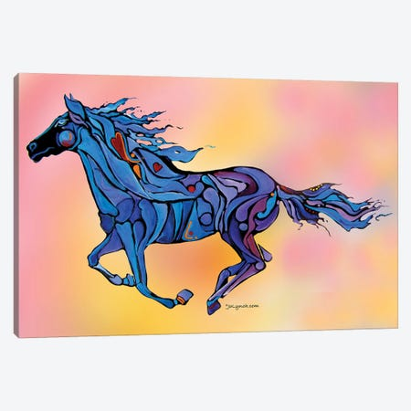 Horse Running Free On Pink Canvas Print #JLY103} by Jo Lynch Canvas Art
