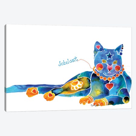 Jubilant Cat Canvas Print #JLY105} by Jo Lynch Art Print