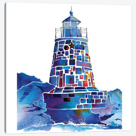 Castle Hill Newport Lighthouse Canvas Print #JLY10} by Jo Lynch Canvas Artwork