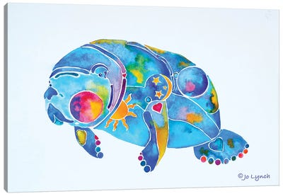 Manatee Sunny Blue Springs Canvas Art Print