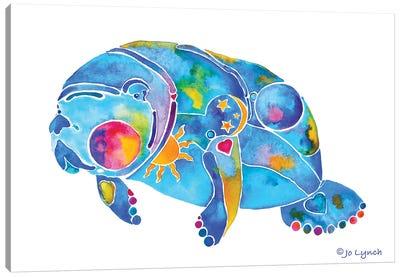 Manatee Sunny Wht Back Canvas Art Print