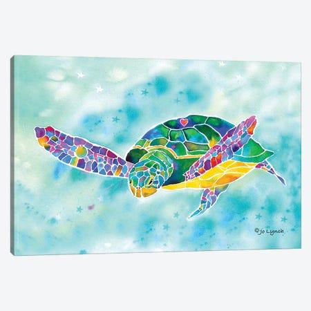 Sea Turtle Green Coastal Canvas Print #JLY135} by Jo Lynch Canvas Artwork