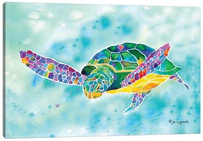 Sea Turtle Green Coastal Canvas Art Print