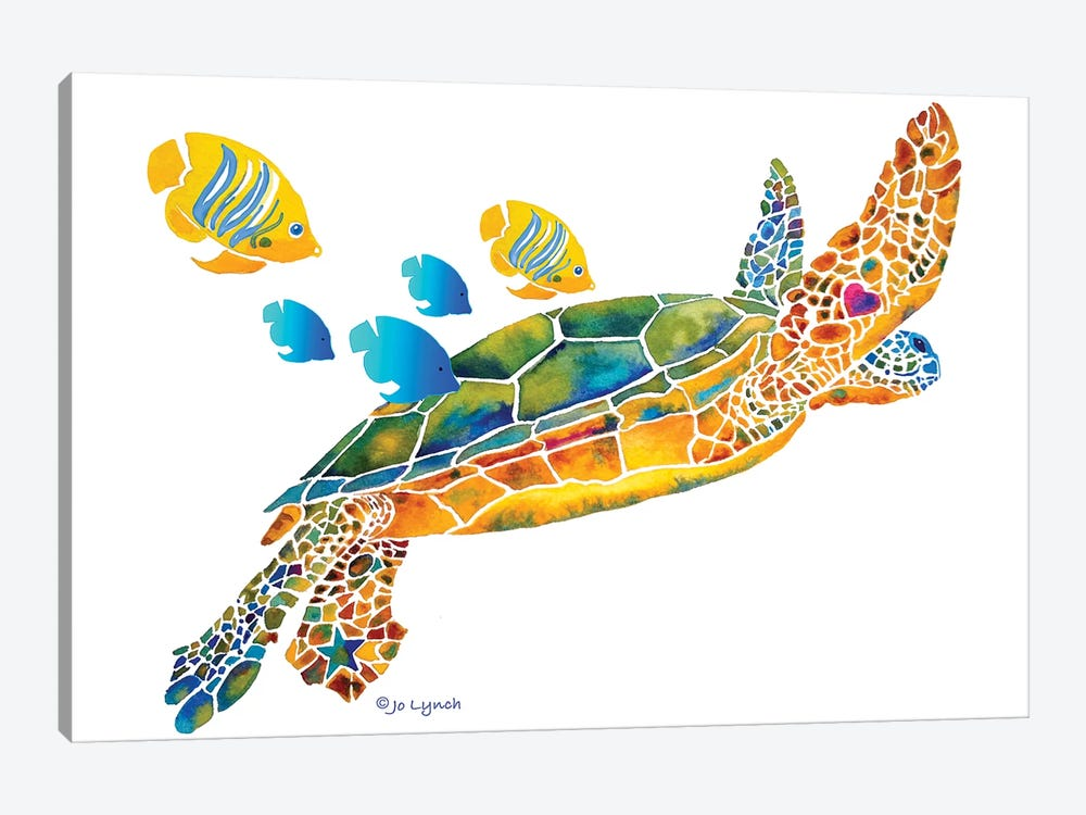 Sea Turtle With Fish by Jo Lynch 1-piece Art Print