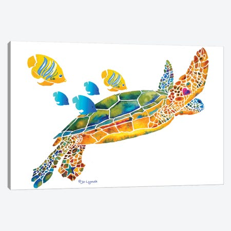 Sea Turtle With Fish Canvas Print #JLY138} by Jo Lynch Art Print