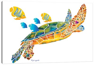 Sea Turtle With Fish Canvas Art Print