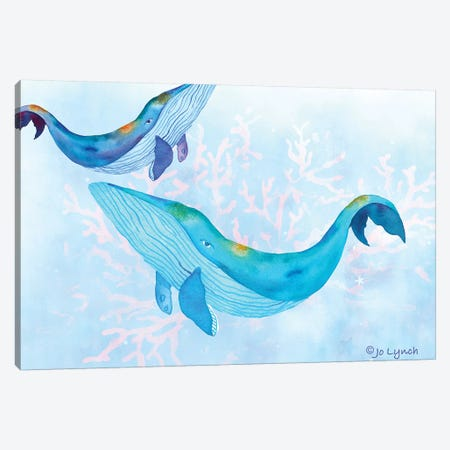 Whales Play Ocean Canvas Print #JLY158} by Jo Lynch Canvas Art Print