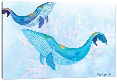 Whales Play Ocean Canvas Art Print