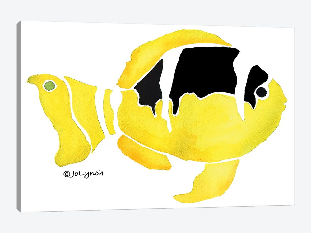 Fish Black Yellow II by Jo Lynch 1-piece Art Print