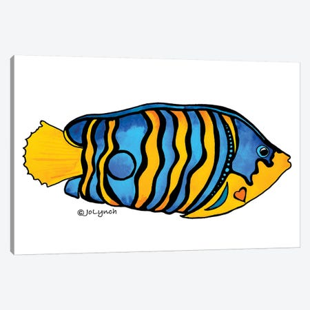 Fish Blue Yellow Stripe II Canvas Print #JLY20} by Jo Lynch Canvas Art Print