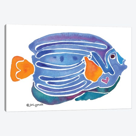 Fish Blue Yellow Tail Canvas Print #JLY21} by Jo Lynch Canvas Art Print