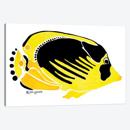 Fish Yellow Black Canvas Print #JLY24} by Jo Lynch Canvas Art