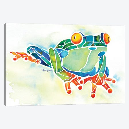 Frog Green Canvas Print #JLY27} by Jo Lynch Canvas Artwork