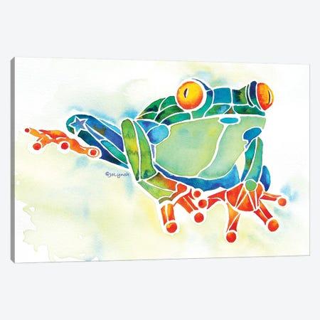 Frog Green Canvas Print #JLY27} by Jo Lynch Canvas Artwork