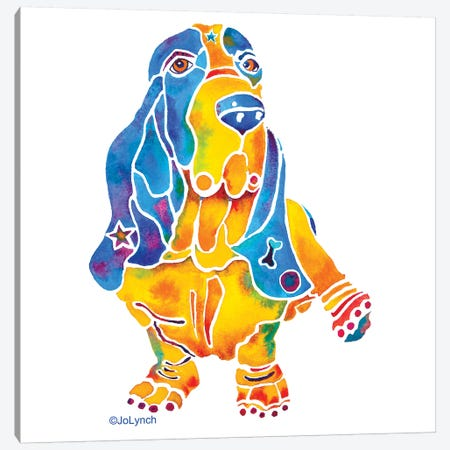 Baily Bassett Hound Dog On White Canvas Print #JLY2} by Jo Lynch Canvas Print