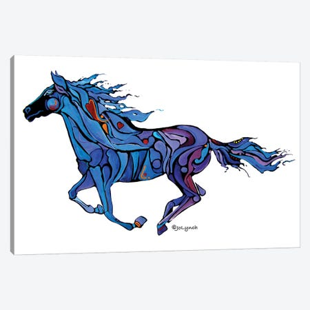 Horse Running Free Canvas Print #JLY34} by Jo Lynch Art Print