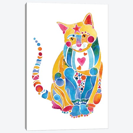 Jewel Kitty Cat Whimsical Canvas Print #JLY35} by Jo Lynch Art Print