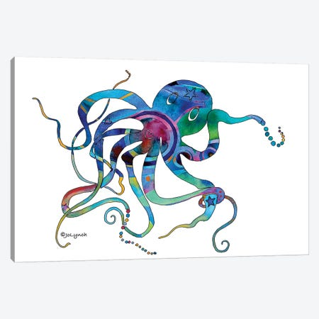 Octopus Multi I Canvas Print #JLY44} by Jo Lynch Canvas Wall Art