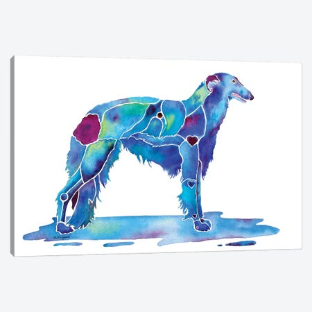 Borzoi Dog Blue Canvas Print #JLY4} by Jo Lynch Canvas Art