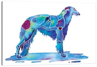 Borzoi Dog Blue Canvas Art Print