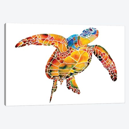 Sea Turtle I 3-Piece Canvas #JLY54} by Jo Lynch Canvas Print