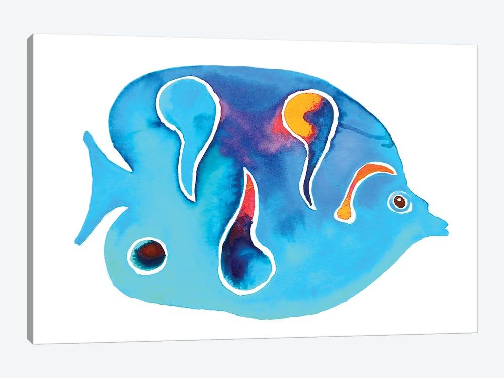 Tropical Fish Blues Spots by Jo Lynch 1-piece Canvas Wall Art