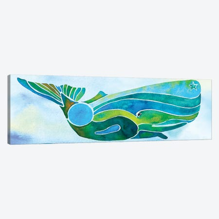 Whale On Background Canvas Print #JLY64} by Jo Lynch Canvas Wall Art