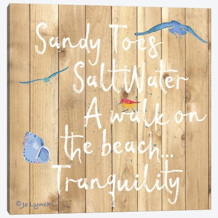 Beach Sign Walk Beach Canvas Print #JLY73} by Jo Lynch Canvas Wall Art