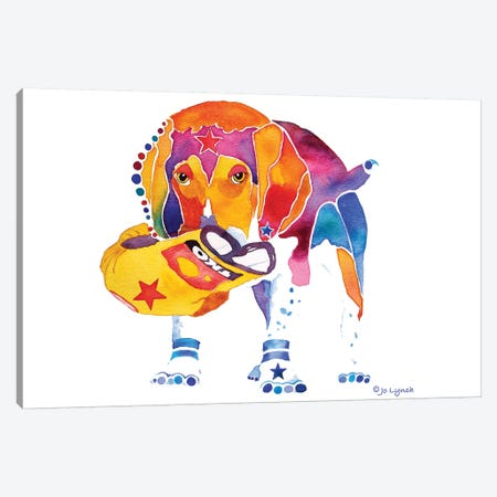 Beagle with Toy Canvas Print #JLY75} by Jo Lynch Art Print