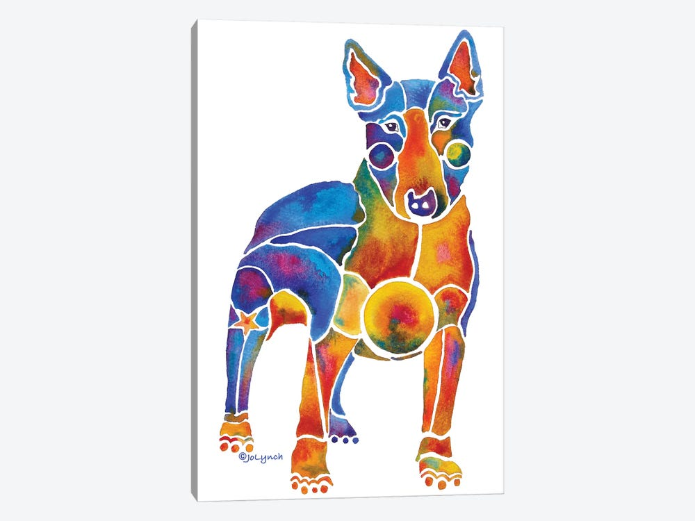 Bull Terrier Dog On White by Jo Lynch 1-piece Canvas Artwork