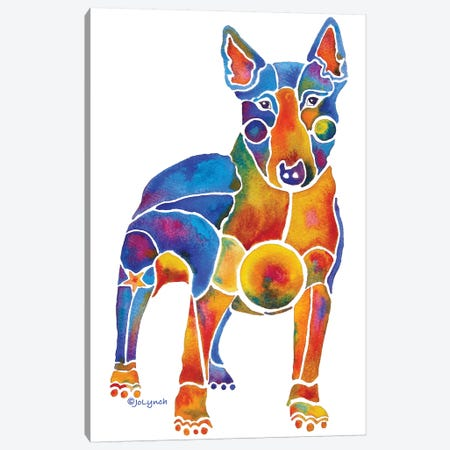Bull Terrier Dog On White Canvas Print #JLY7} by Jo Lynch Canvas Artwork