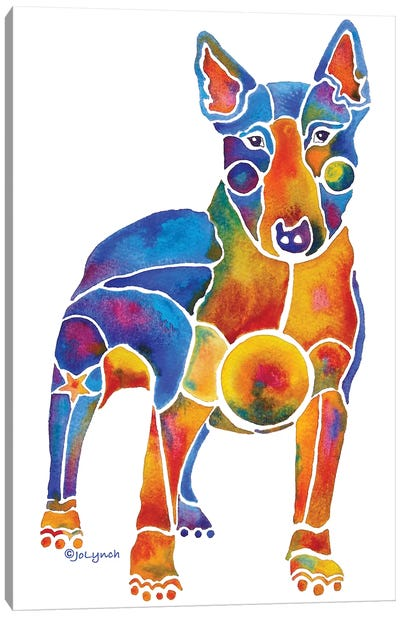 Bull Terrier Dog On White Canvas Art Print