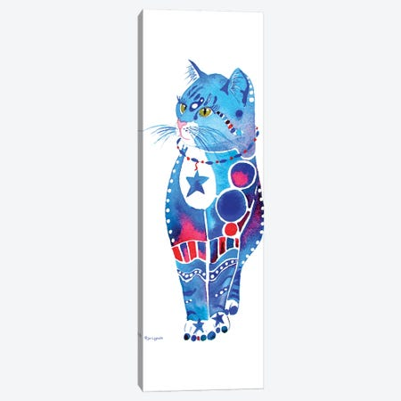 Cat Whimsical Blue  Canvas Print #JLY84} by Jo Lynch Canvas Art