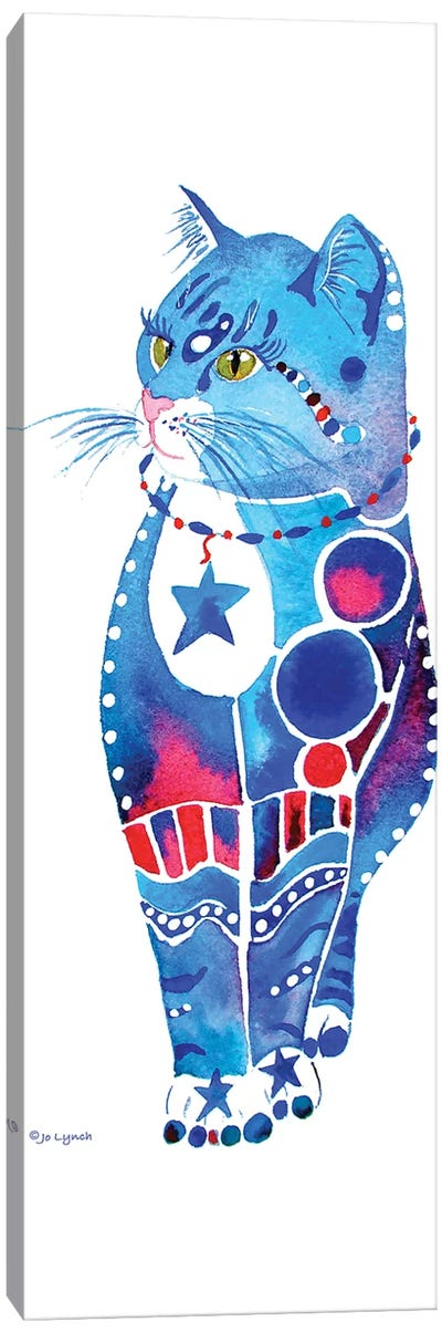 Cat Whimsical Blue  Canvas Art Print