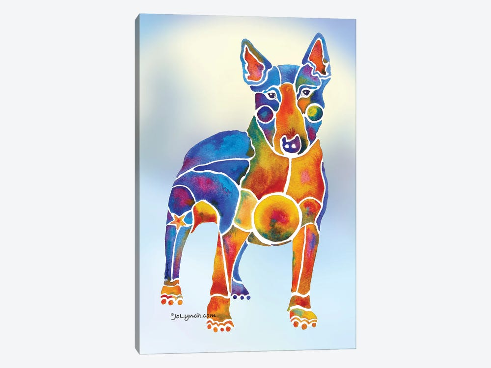 Bull Terrier Dog On Background by Jo Lynch 1-piece Canvas Art Print