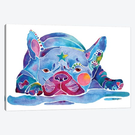 French Bulldog Blue Canvas Print #JLY90} by Jo Lynch Canvas Artwork