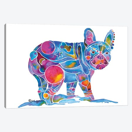 French Bulldog Blue Toots Canvas Print #JLY91} by Jo Lynch Canvas Wall Art