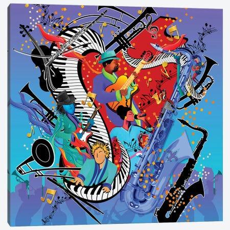 Blue Jazzy Jam Canvas Print #JLZ26} by Juleez Art Print