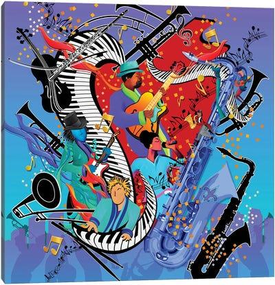 Blue Jazzy Jam Canvas Art Print