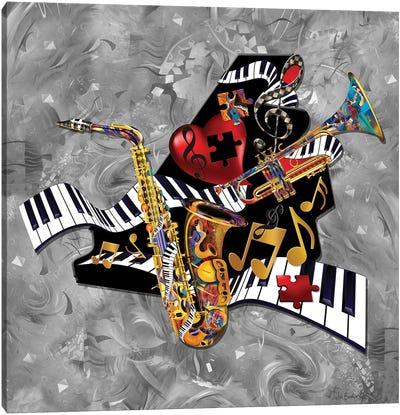Piano Sax Trumpet Swirl Canvas Art Print
