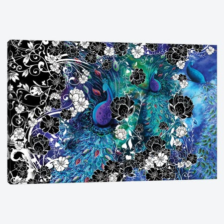 Peacock Flowers Canvas Print #JLZ4} by Juleez Canvas Art Print
