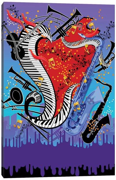 Blue Jazz Music Canvas Art Print