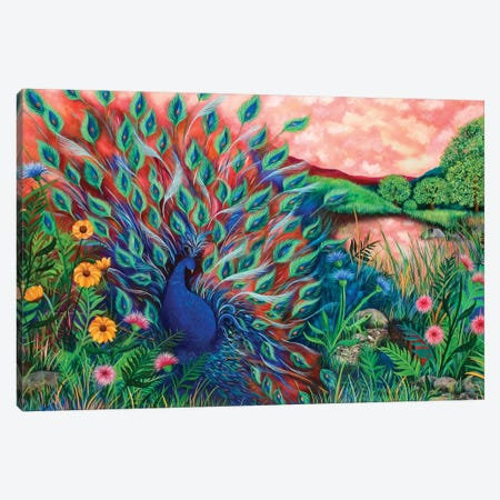 Coral Peacock Canvas Print #JLZ55} by Juleez Canvas Artwork
