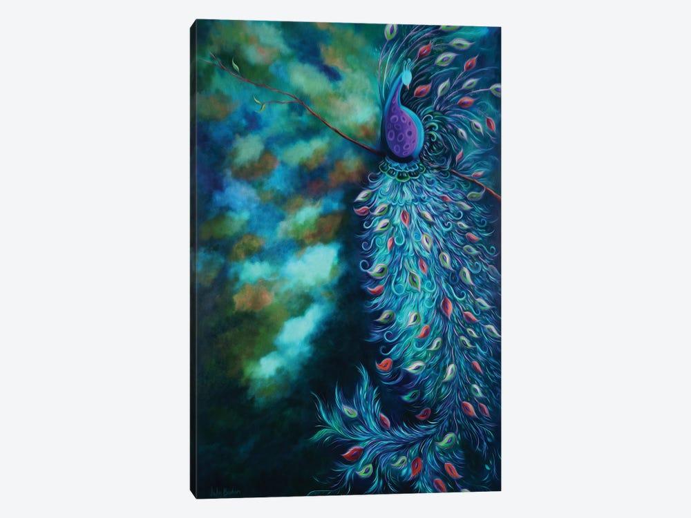 Peacock Garden Teal by Juleez 1-piece Canvas Artwork