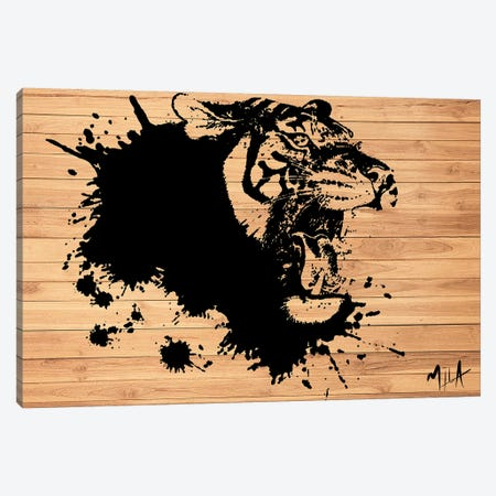 Tiger Splash, Wood Canvas Print #JMB11} by Julie Mila-Bouffard Canvas Wall Art