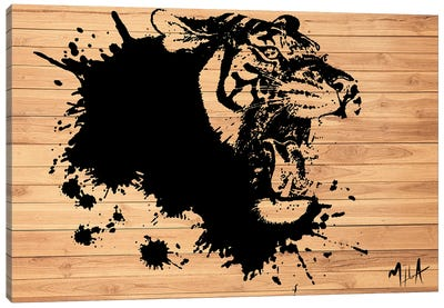 Tiger Splash, Wood Canvas Art Print