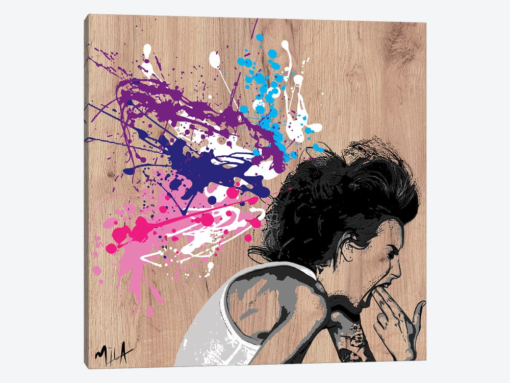 Xploding Brain, Wood by Julie-Mila Bouffard 1-piece Canvas Print