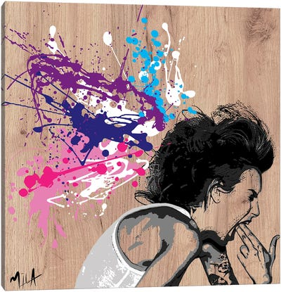 Xploding Brain, Wood Canvas Art Print