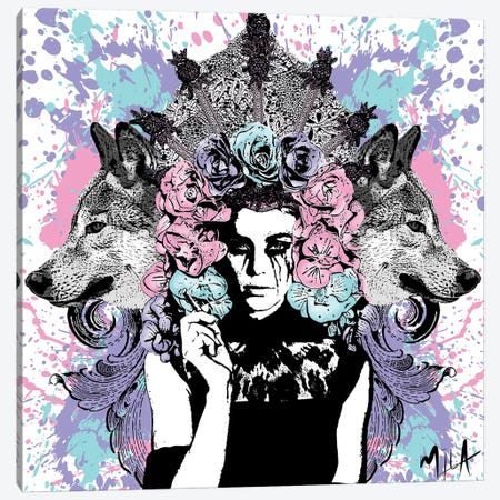 She Wolf Canvas Print #JMB22} by Julie Mila-Bouffard Canvas Print