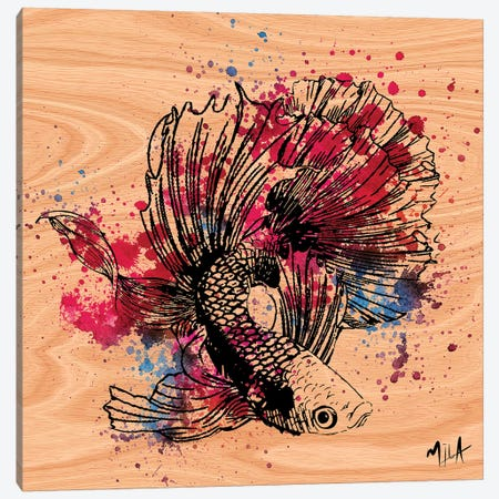 Color Fish, Wood Canvas Print #JMB2} by Julie Mila-Bouffard Canvas Artwork